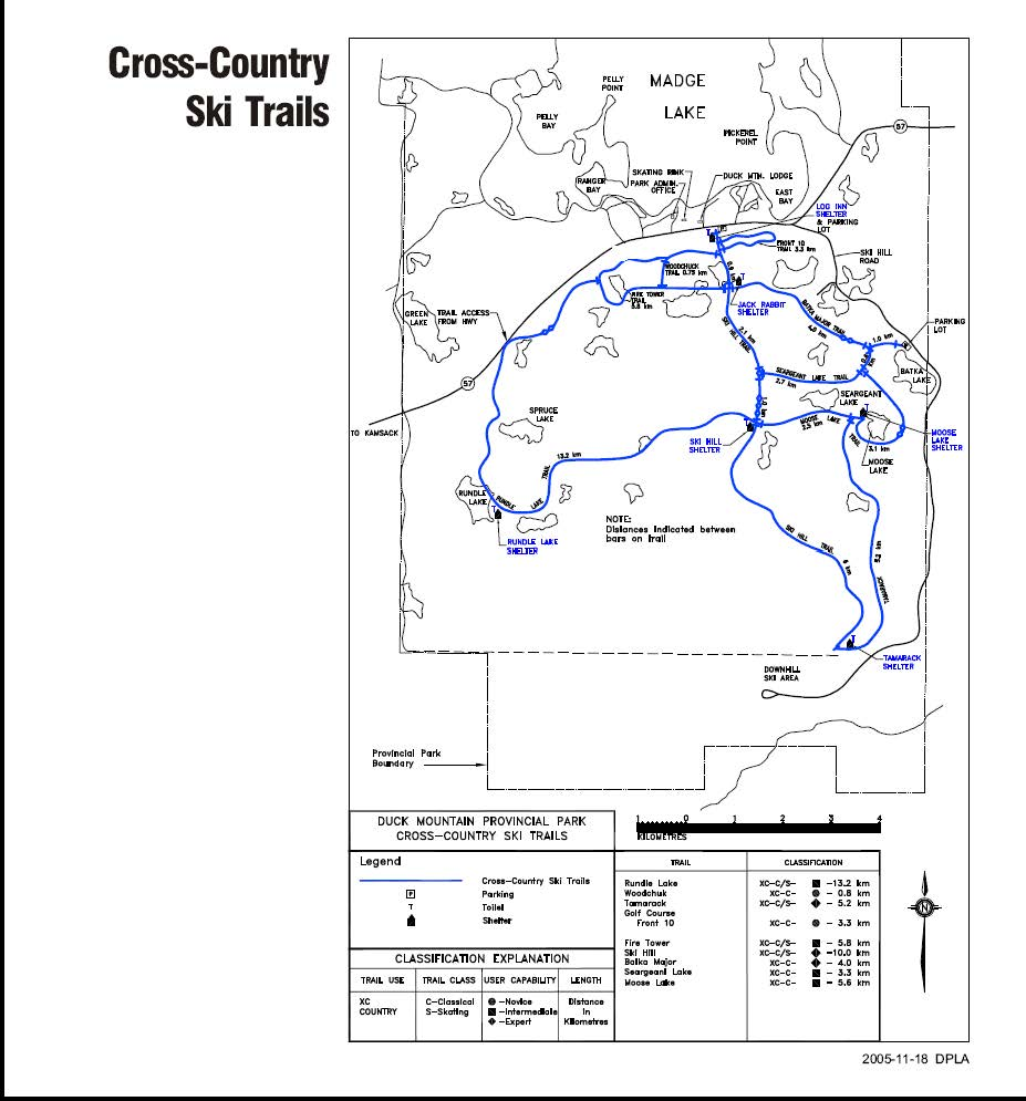 duck mountain Cross-Country-Ski-trails map